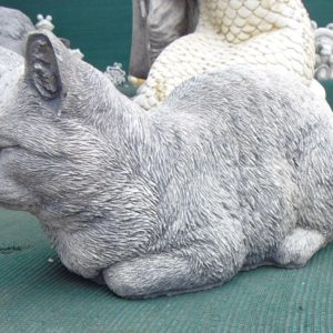 #6 - Concrete Large Sleeping Cat (grey)