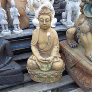 Thai Buddha on Oval Base Concrete Garden Statue Rust/Green