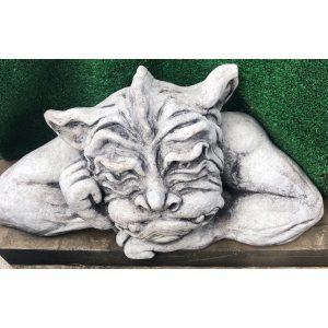 Sad Gargoyle Head Concrete Statue