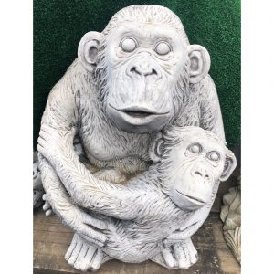 Uploaded ToChimp & Baby Concrete Statue