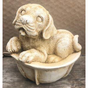 Dog in Helmet Small Concrete Statue