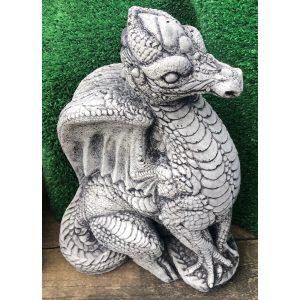 Dragon Sitting Small Concrete Statue