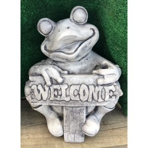 Frog Holding Welcome Sign Concrete Statue