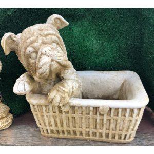 Dog in Basket Medium Concrete Planter Statue