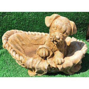 Puppy in Basket Statue