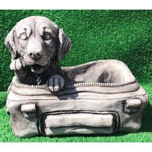 Small Dog in Bag Concrete Planter Statue