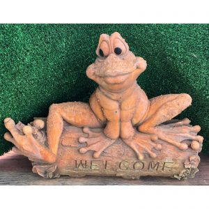 Welcome Frog on a Log Concrete Statue