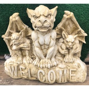 Welcome Gargoyles on a Rock Concrete Statue