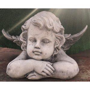 Angel Head Concrete Statue